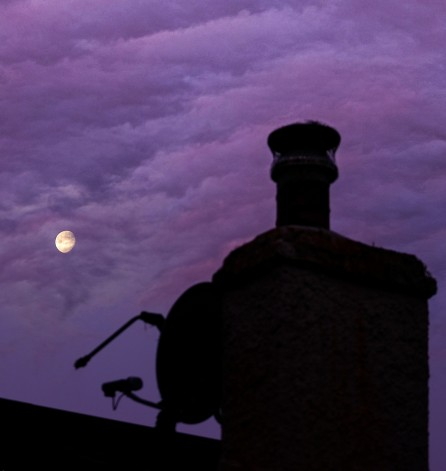 Title: Sunset Moonrise, Judge's Comments: Was the colour intentional? If not then try colour management to remove some red. I am not sure what depth of field you used as the chimney looks as though it could be sharper. Hard when the two objects are so far distant from each other