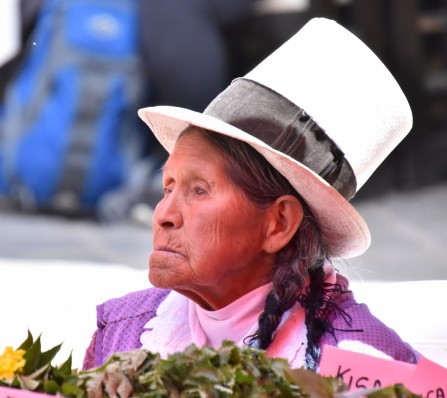 Title: Peru Lady, Judge's Comments: She is gazing into the distance with a look that says she is bored I feel. I do like the hat. The blue in the background is distracting.
